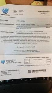 Domain listing scam letter